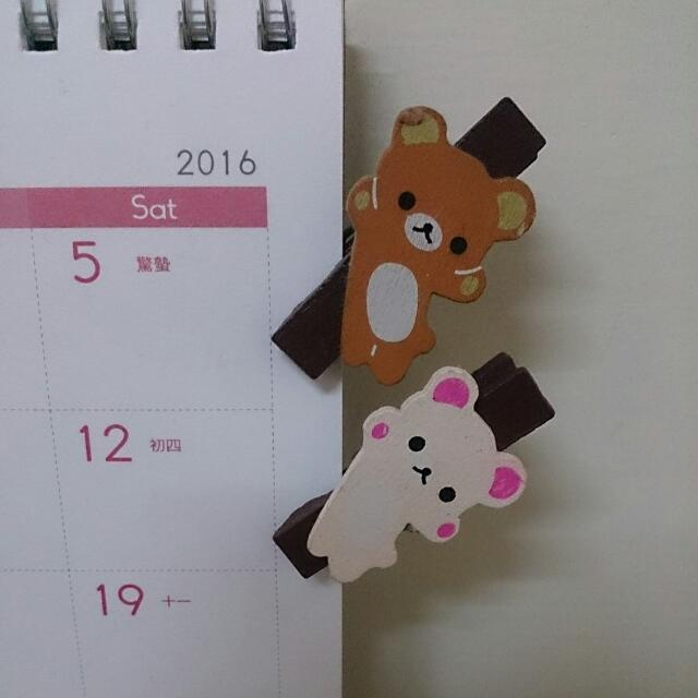 【一對】超可愛的拉拉熊木夾子