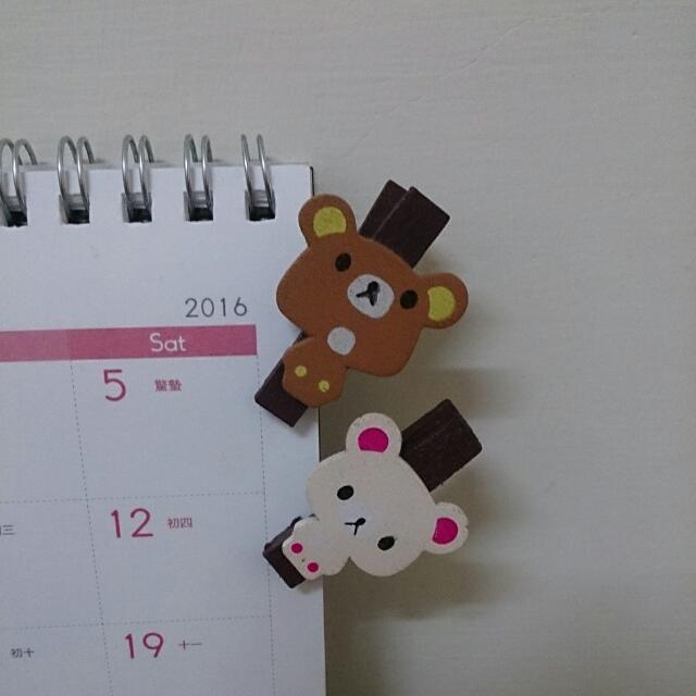 【一對】卡哇伊的拉拉熊木夾子