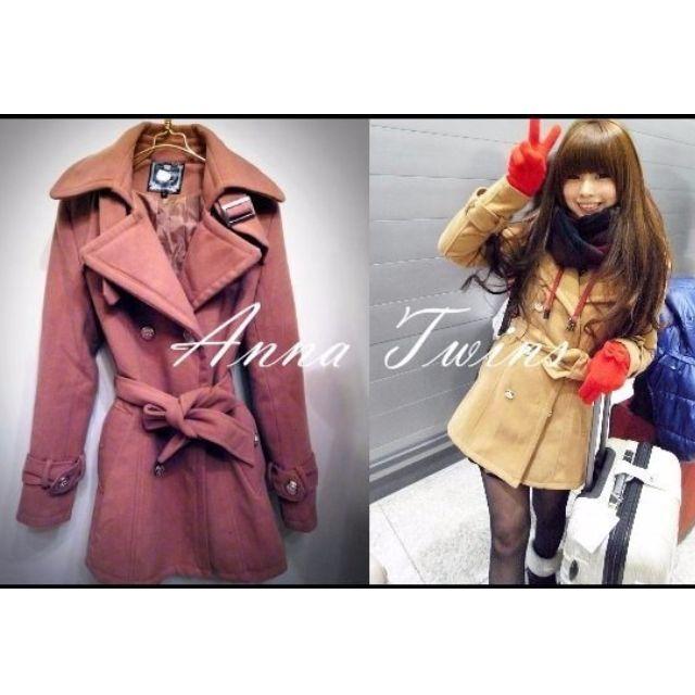 韓國雙排扣軍裝駝色翻領綁帶大衣外套