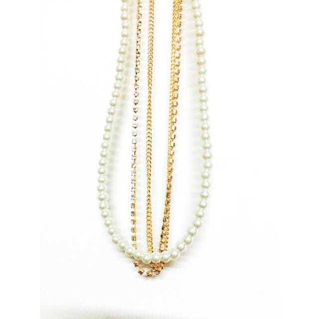 三串式珍珠亮鑽項鍊