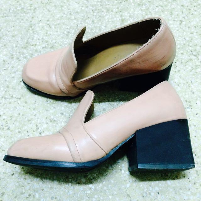 雜誌款 粉紅方塊粗跟鞋36-37