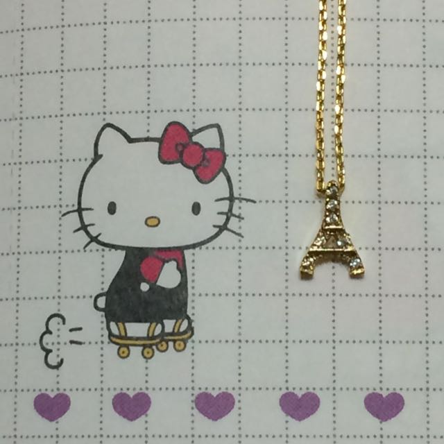韓貨 巴黎鐵塔金色短項鍊(全新)