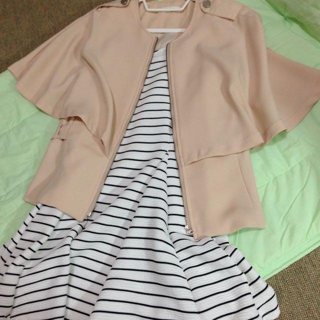 韓國帶回質感小外套 條文百搭背心裙