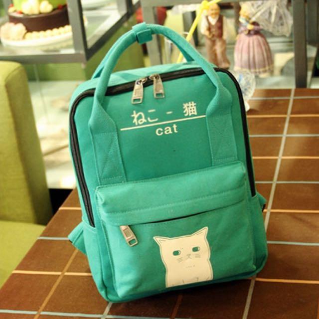日系帆布貓咪後背包 手提包 兩用