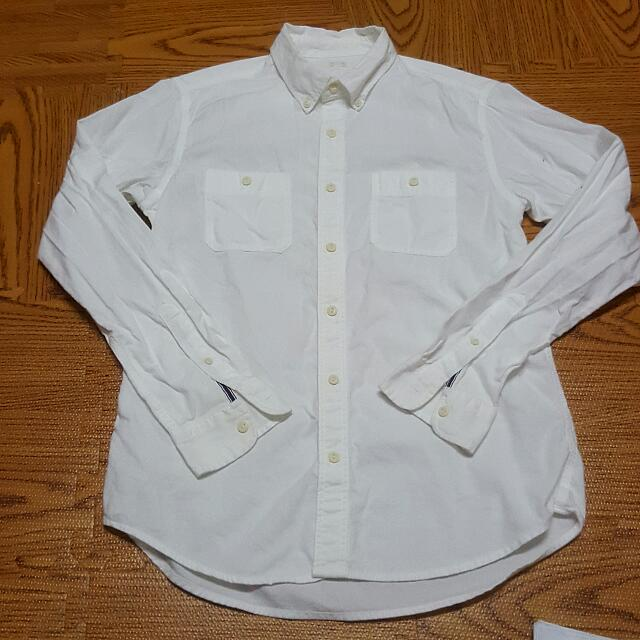 日本入手 GU長袖襯衫 白色 M號 9.5成新