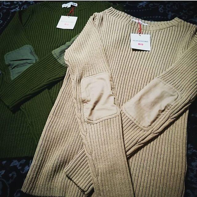 (二手) Uniqlo 針織補丁上衣 lemaire