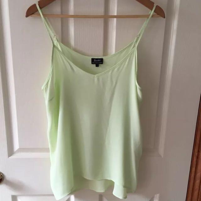 Bardot Cami Top Lime Green Size:10