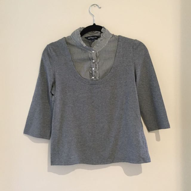 Grey Top With Built In Shirt