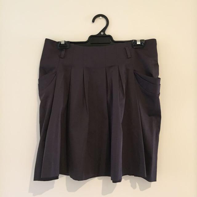 Gun metal Grey Structured Skater Skirt