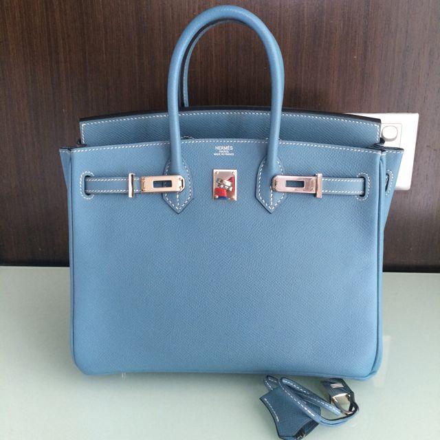7cf9329ca769 Hermes Birkin 25 Blue Jean Epsom PHW K Stamp