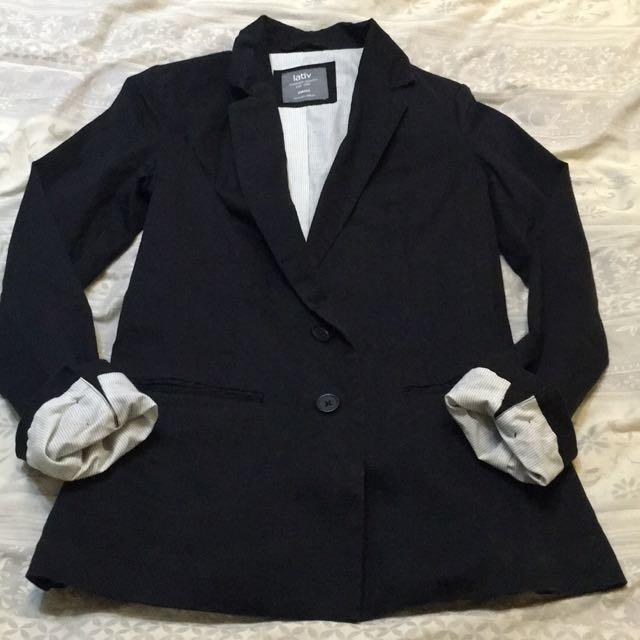 Lativ黑色棉質西裝外套S-L號