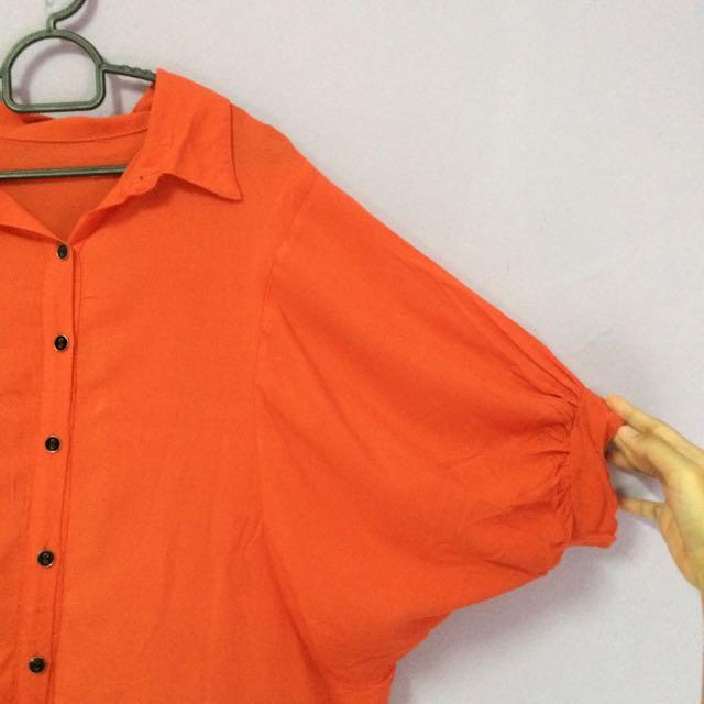 Mandarin Orange Baggy Blouse / Outerwear