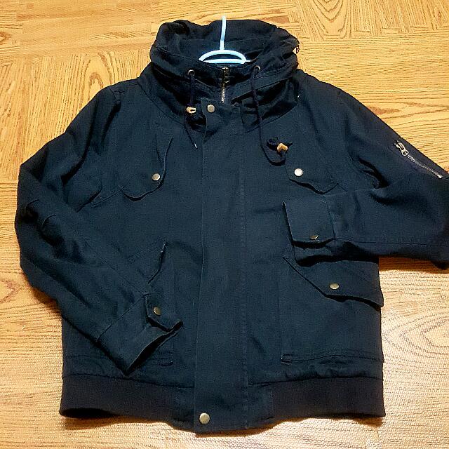 M&C 騎士外套 太空領 鋪棉 藍色 韓版 1號