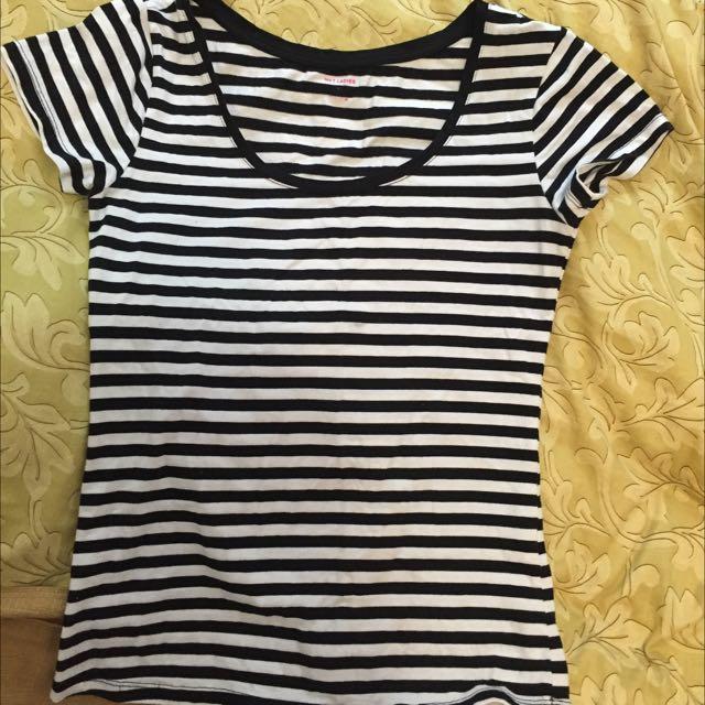 Net條紋短袖上衣t/shirt#100元上衣