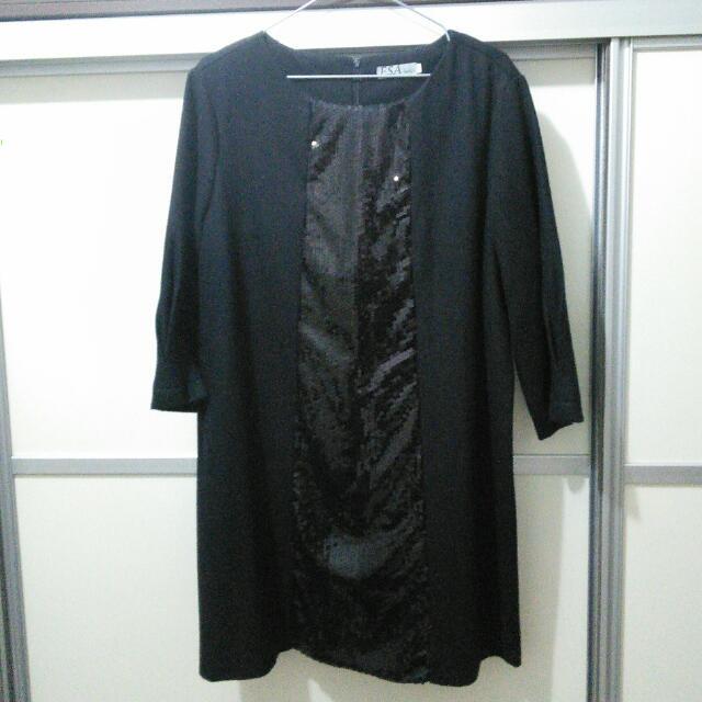 亮片裝飾長袖黑洋裝~oversoze~中大尺碼