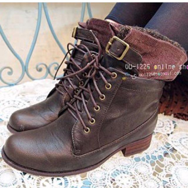 日本知名品牌Pageboy襪套造型咖啡色短靴