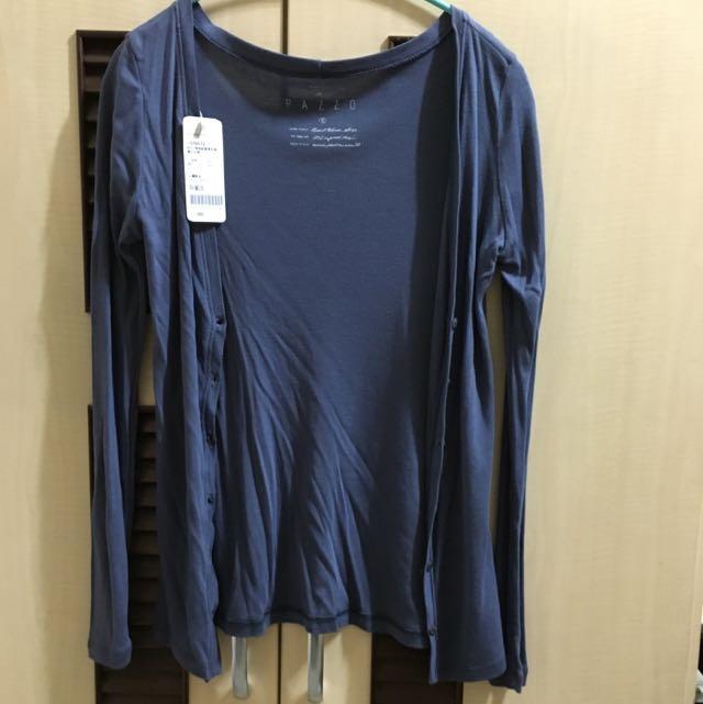 Pazzo 領牌釦開襟長袖罩衫外套 灰藍 S