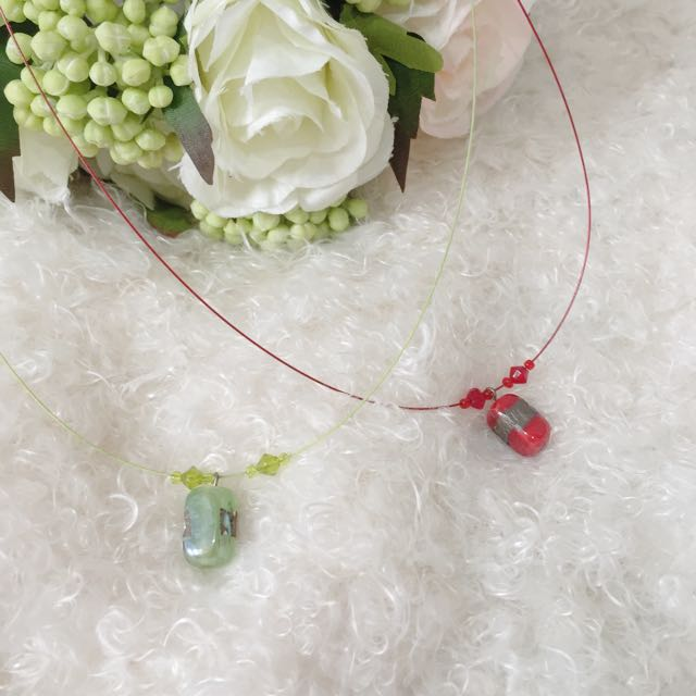 Red And Green Stone Necklace