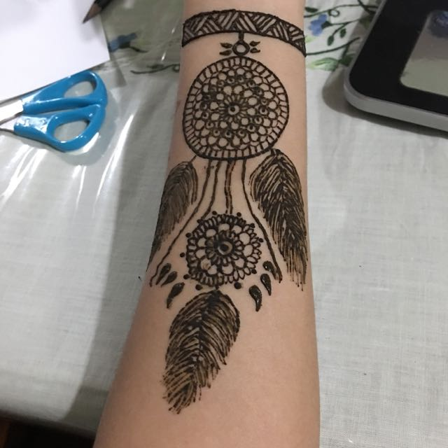 6f3082801 Simple Dream Catcher Henna Design, Design & Craft on Carousell