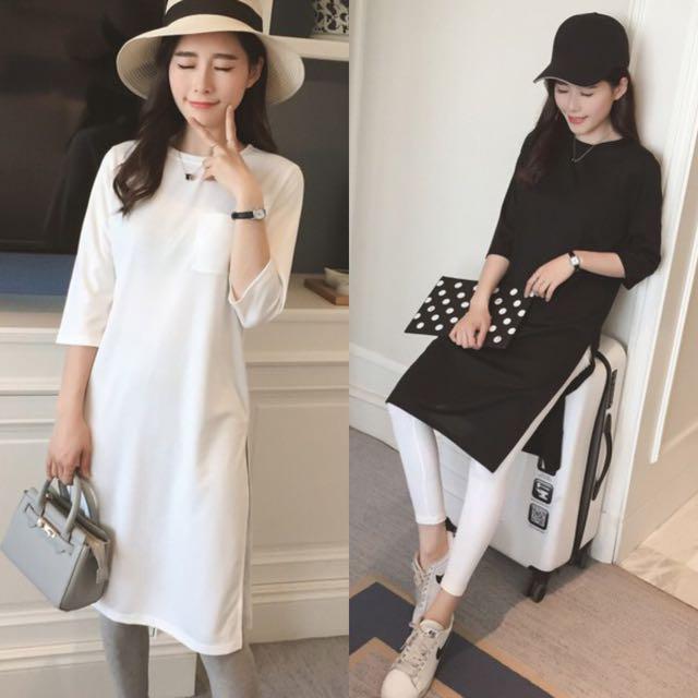 Simple Minimalist Basic Color Three Quarter Sleeve Slit Maxly Long Korean Style Dress White