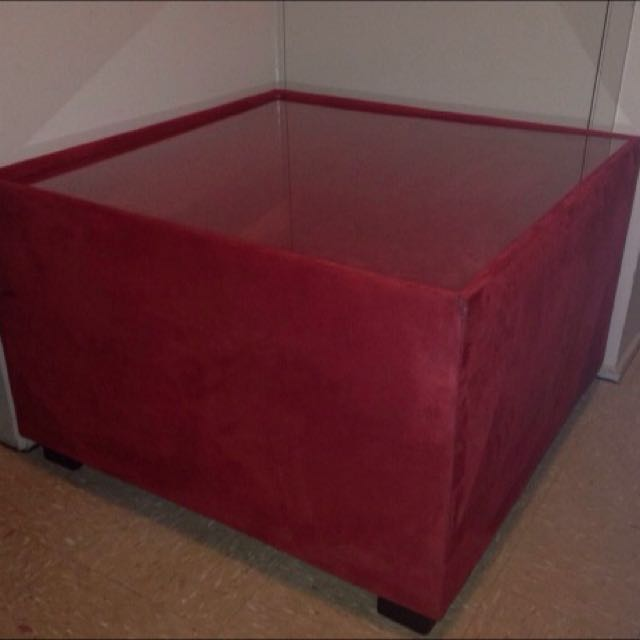 Square coffee table microsuede with glass centre.