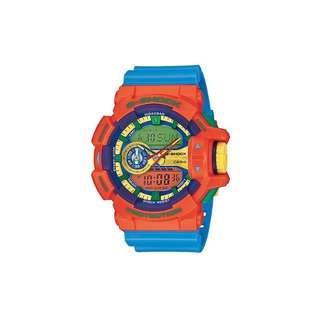 G-SHOCK亮彩新色街頭時尚新層次雙顯運動錶(GA-400-4)-橘紅X藍/51.9mm