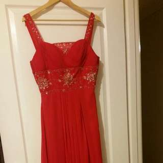 Red Sequins Long dress Size12