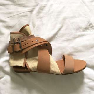 Tan Whitchery Canvas Sandals - Size 38