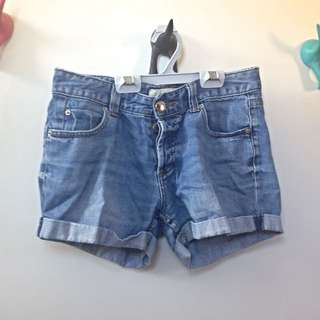 Mid Rise Blue Denim Shorts (size 8)