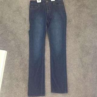 Never Worn Dark Blue Denim Bootleg Jeans (size 8)