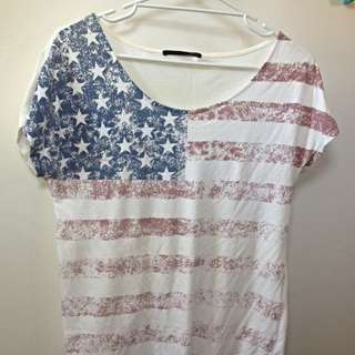 Vintage Look USA Flag Print T-shirt (fits like M)
