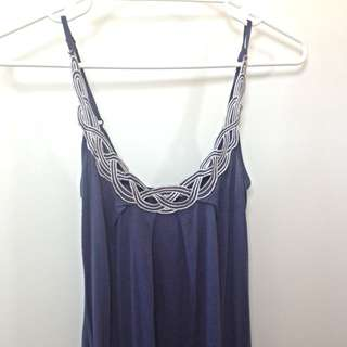 Woven Neck Navy Blue Singlet (size XS)