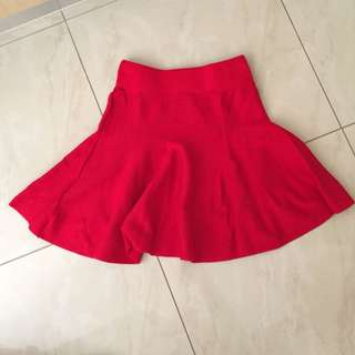 Bright Red Knit Skirt