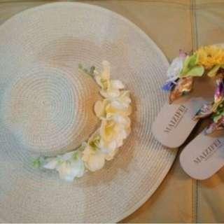 海邊渡假必備~花朵大沿草帽
