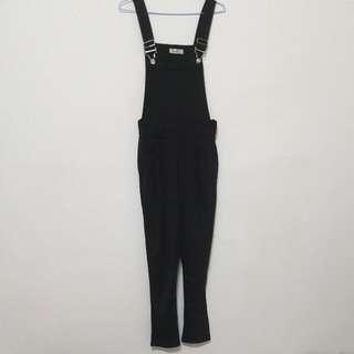 棉質黑色吊帶褲