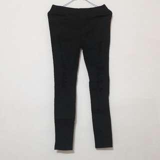 黑色刷破緊身長褲