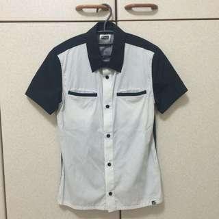 FIND 潮流男裝 黑白拼接點點襯衫 口袋 短袖 窄版修身 9成新 免運