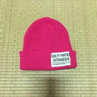 (含運)桃紅毛帽