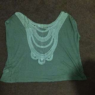 Open Back Crochet Design Tshirt With Pocket
