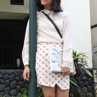 Asymmetry Printed Skirt