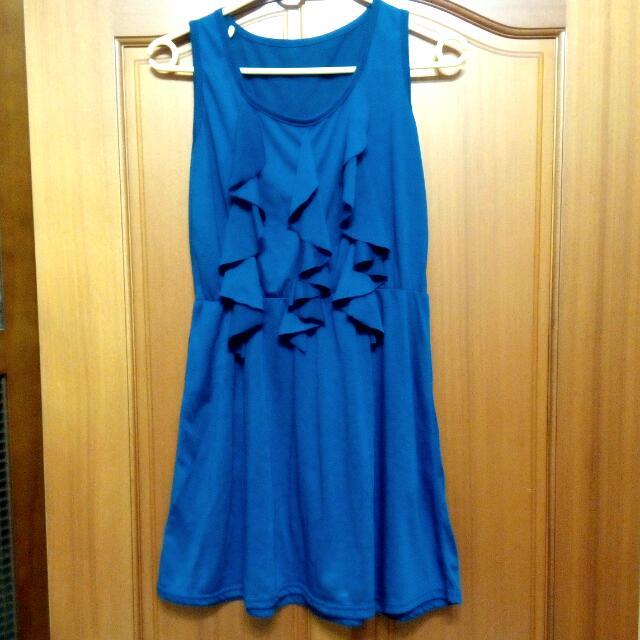 胸前垂墜設計棉質洋裝