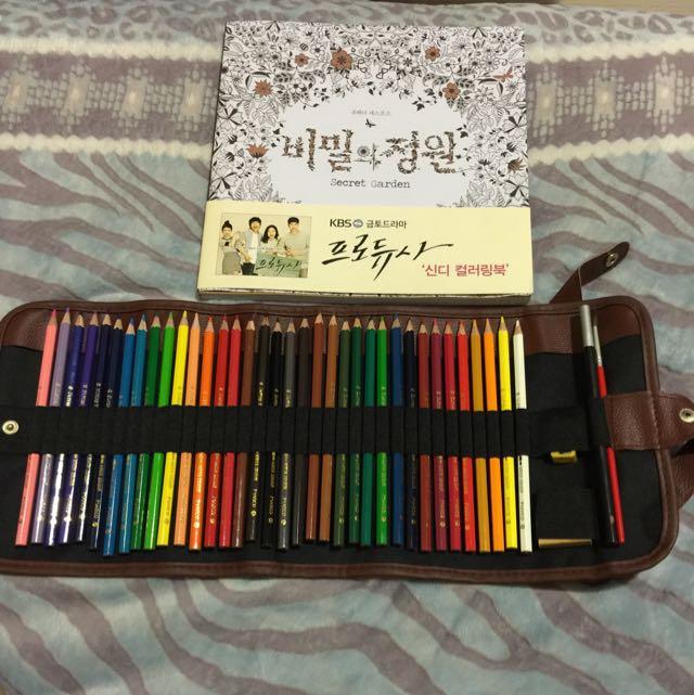 全新韓版秘密花園畫冊  Marco36色水溶性鉛筆加筆袋