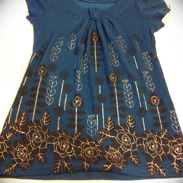 藍色 針織小洋裝