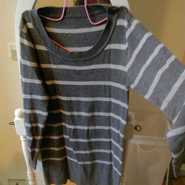 歐美 長版條紋修身顯瘦針織毛衣 上衣