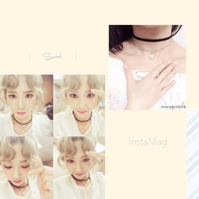 韓國 少女時代 泰妍 同款 pu皮質+銀鏈珍珠 雙層項鍊 頸鍊 鎖骨鏈 現貨