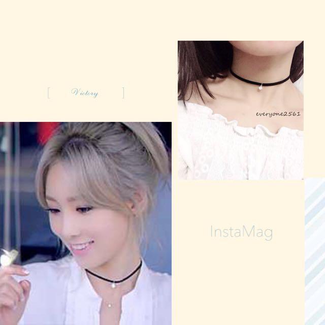 韓國 少女時代 泰妍 mv同款 麂皮水滴鑽 頸鍊 項鍊 現貨