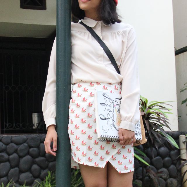 Asymmetry Printed Skirt