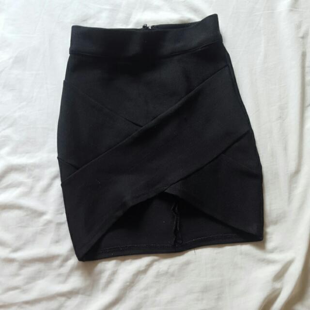 Black Mini Bandage Skirt