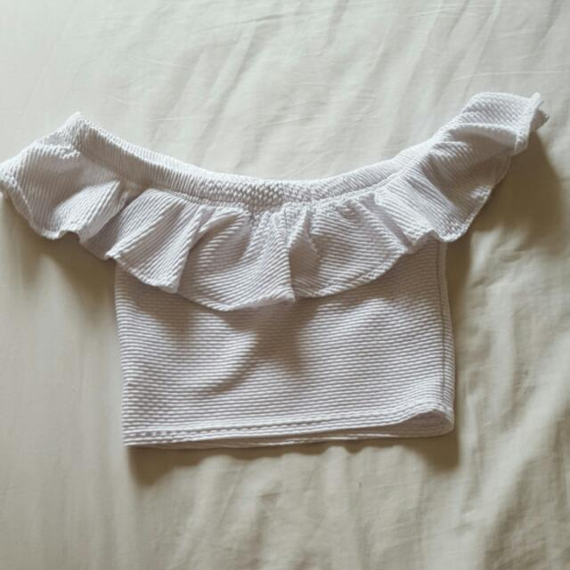 Boohoo Off-shoulder Frill Crop Top In White