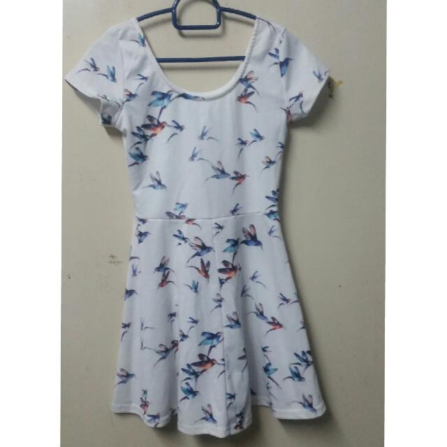 Dress White Bird Design